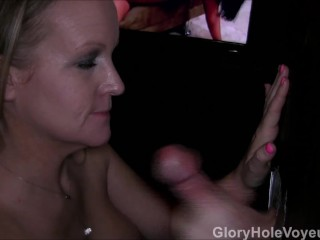 Gloryhole Blonde MILF First Cock