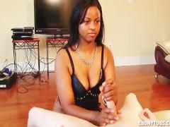 Cute girl enjoys cock stroking
