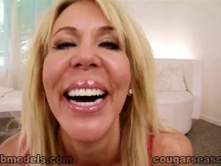 Cougar Erica Lauren POV MILF Blowjob Cum Swallow CougarSeason - Title on the code