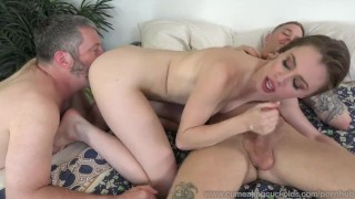 Anya Olsen and Husband Suck Massive Cock Together 3some blow-job 3way wife masturbation bj bi sexual husband big-cock cumeatingcuckolds cumshot cum-eating cock-sucking small-tits cuckold oral bull