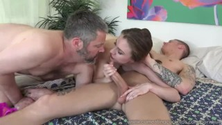 Anya Olsen and Husband Suck Massive Cock Together  big cock masturbation bj bi sexual cuckold oral 3way wife husband cumshot small tits cumeatingcuckolds cock sucking bull 3some cum eating blow job