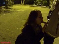 Amateur publick blowjob in night street