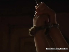 Passionate teasing between mistress of whores and slave women