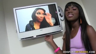 Ana Foxxx is sucking an anonymous white Gloryhole Cock ebony black blowjob gagging face fucking gloryhole babe glory hole pornstar cumshot deepthroat small tits dogfartnetwork natural tits fetish facial