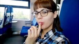 Glasses nerdy girl public blowjob in the train.