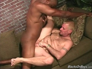 Pierced blonde guy rides a huge black dong