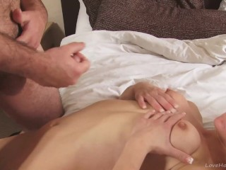 Skinny tattooed blonde getting stuffed by her man