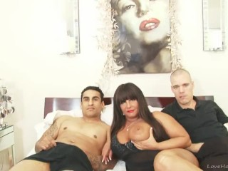 Slut with big tits fucked in a threesome