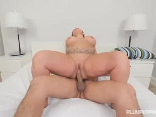 Big Booty Chubby Wife Sucks of Big Cock in Shower