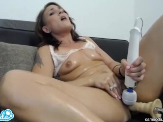 amateur charley taking huge fuckbot dick into her part time lesbian pussy