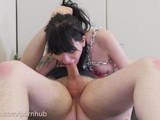 Goth slavegirl put in chains to serve her Master's cock and ass