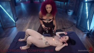 Electrifying Lesbian BDSM  ball gag high heels bdsm ebony black tattoo kink anal stockings pussy licking natural tits adult toys girl on girl electric dildo violet wand suspension lesbo electrosluts