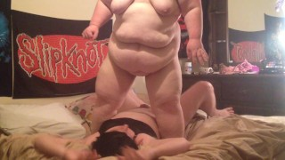 Big Bella squashing sissy hubby under 320 lbs body!  bbw femdom chubby fat sissy kink ssbbw belly crush squash bigbella big belly squashing
