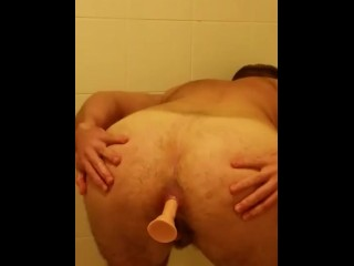 FTM Anal fun in the shower - butt plug and dildo! - Title on the code