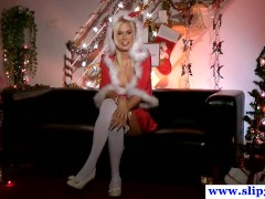Solo santa amateur fingering her tight pussy