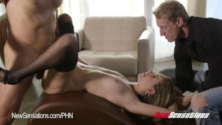 Kimmy Granger Hotwife Bound  doggy style big cock riding babe bdsm cuckold blonde blowjob small tits hardcore bound bondage stockings newsensations wife sharing tied up