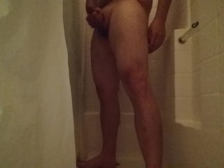 in shower muscle thigh jack off.