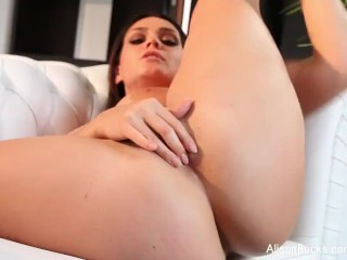 Alison Tyler fingers her pussy on the couch