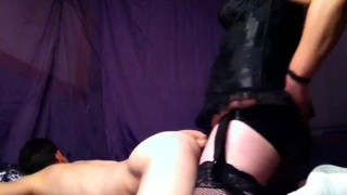 pegging my hubbys ass with large strap-on  kinky strap on anal extreme anal toys married couple sex masks anal toys pegging femdom amateur