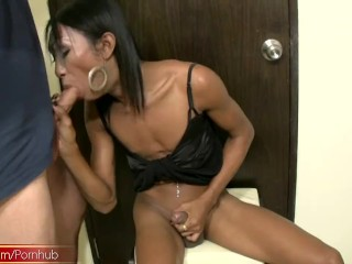 Ladyboy expertly handles Rafes cock while jerking her own