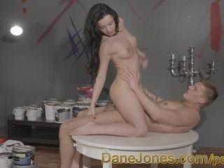 DaneJones Sexy young art student rides handsome model in studio