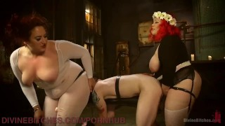 Two Gorgeous BBWs Smother Their Fuck Slave  cock slapping sex in bondage strapon bdsm bbw femdom chubby divinebitches kink 3some flogging bondage anal stockings ass licking smothering