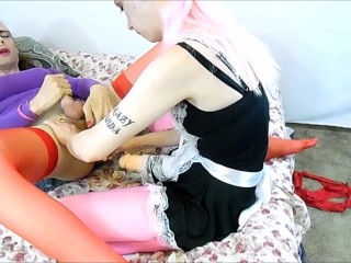 Hot blonde maid plays with and fucks stunning shemales ass