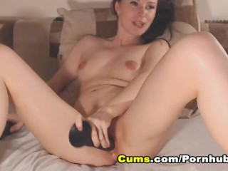 HOT Brunette Dildo Fucking her Pussy and Ass