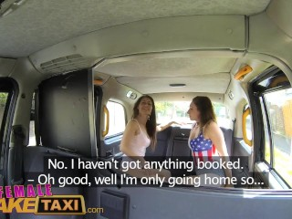Femalefaketaxi lesbian pussy eating session in cab