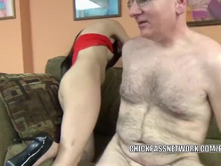 Tiny brunette Gianna Love is taking some dick from a geek