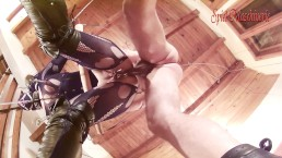 Ring gag hogtied facefuck with anal hook