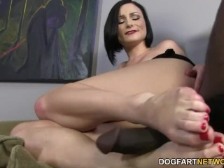 Veruca James pleases a big black cock with her feet
