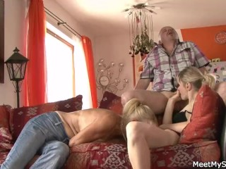 Lovely girl involved into family 3some