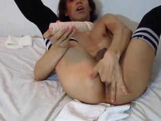 ladyboy playing with big dildo