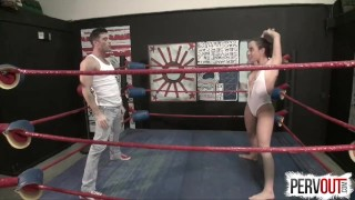 NO RULES Wrestling with Roxanne Rae + Lance Hart (Strapon, Fucking, Switch)  strap on mixed wrestling sex pegging strapon humiliation wrestling domination kink brunette switch sweetfemdom ball squeeze roxanne rae lance hart