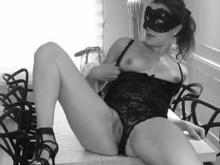 Sexy brunette masturbate on table and have big orgasm