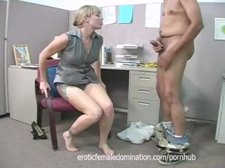 Bossy blonde office bitch dominates and humiliates workers at work