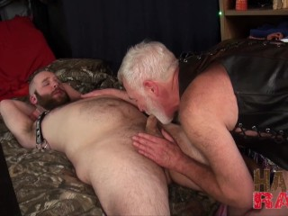 Chubby ginger groans by daddy's raw cock