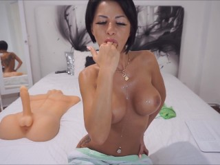 Anisyia Livejasmin four fingers deepthroat gagging sloppy blowjob HD4K