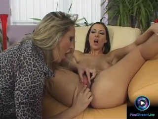 Lesbian lovers Mandy Bright and Maria Bellucci having fun with long dildo