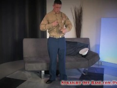 Straight Off Base: Marine Conrad Jerking Off in Uniform