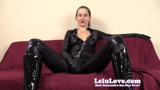 Financially dominating and cuckolding you in my catsuit lelu love domination homemade catsuit femdom point of view amateur solo lipstick tease cuckolding pov lelulove brunette natural tits fetish hd humiliation
