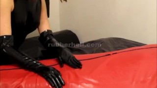 Teasing and sucking my latex cocoon slave  latex lucy rubber playground bdsm rubber-bondage latex-bondage blowjob kink rubber rubber-doll latex-catsuit latex femdom-handjob cocoon rubber glove handjob rubber tanja