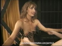 Rough mistress makes her slave's tits hurt in a bdsm session