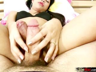 Stunning ladyboy with small titties slurps on juicy cock