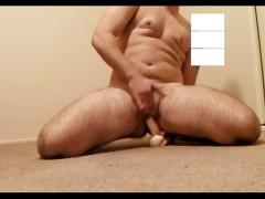 Transgender guy bounces on dildo till he cums then fingers himself