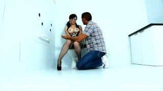Jasmine James takes on two fat cocks in the gloryhole  big ass big cock british killergram oral redhead blowjob gloryhole busty curvy brunette 3some heels big boobs bathroom fishnet spanked corset huge tits
