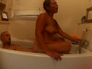Reverse Cowgirl Bubble bath fun
