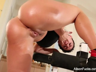 Alison Tyler works out her perfect body and masturbates