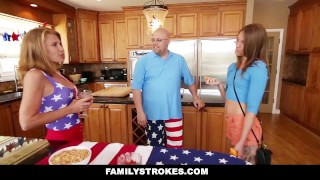 FamilyStrokes - 4th Of July BBQ Turns Into Sibling Fuckfest hardcore babe shaved cumshot step sister smalltits kristen lee step brother brunette cowgirl familystrokes step siblings facialize bigcock facial doggystyle